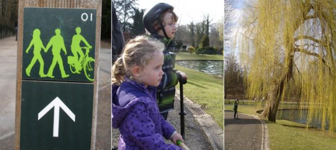 etangs, promenade, balade, vélo, jardin, jeux