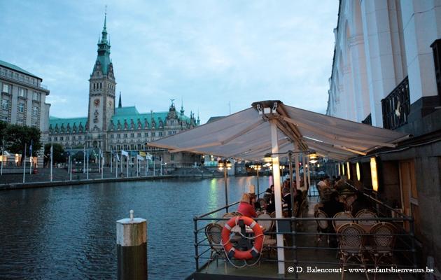 lac, terrasse, bière, schnitzel